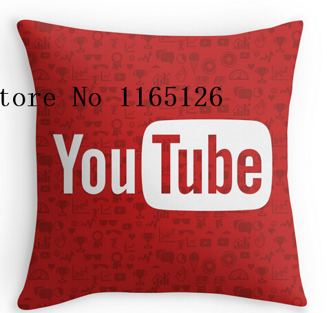 Hot Pillow cases YouTube Full Logo - Full White on Pattern Red two sides printing Square Zippered Pillowcase free shipping(China (Mainland))