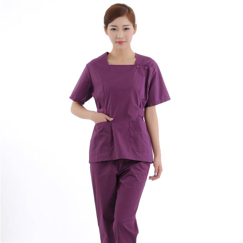 New Women Medical Scrub Sets Nurse Hospital Uniforms Dental Clinic Beauty Salon Short Sleeve Medical Workwear Slim Fit 1976(China (Mainland))