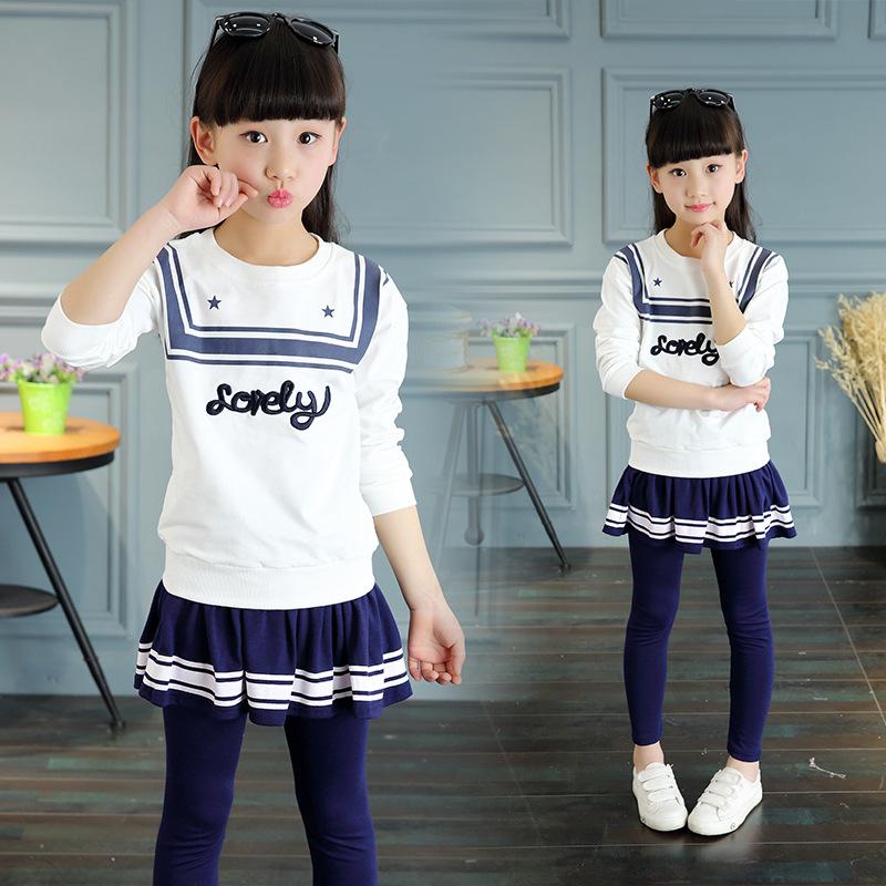 2016 Hot Sale Autumn Girls Clothing Set Navy style Long Sleeve tops+pants 2PCS Skirt Set 4 To 16Years Toddler Girls Dress Set(China (Mainland))