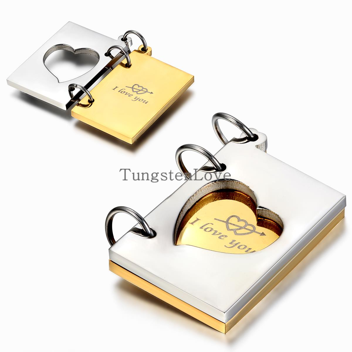 """Fashion """"I love you"""" Openable love letter pendant necklace for Women Men Gift Stainless Steel colgantes mujer Gold Silver Color(China (Mainland))"""