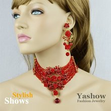 Red Flower Wedding Jewelry Set,Fashion Crystal Necklace and Earrings Sets,Free Shipping(China (Mainland))