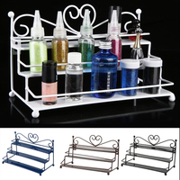 2016 Coffee Color 3 Tier Nail Polish Display Rack Stand Organizer Holder With Metal Heart Design  Hot Sale