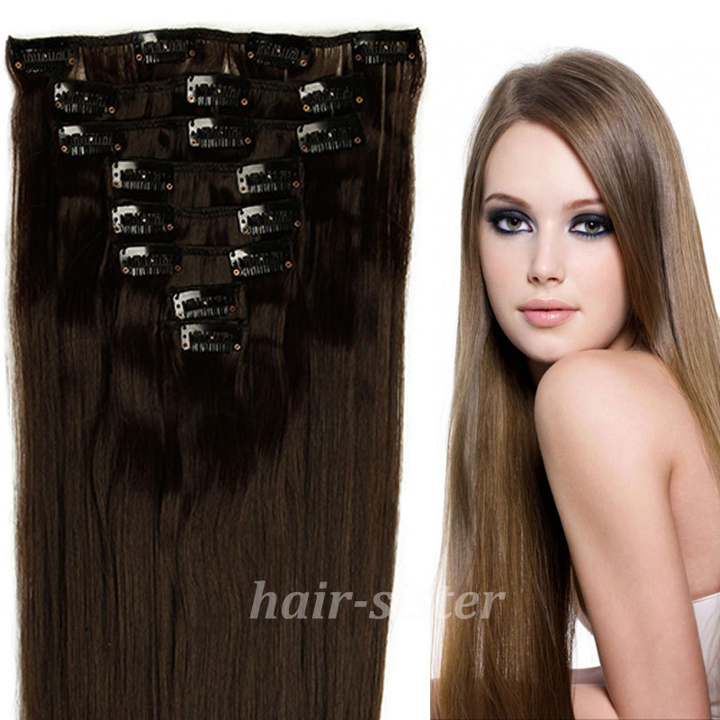 Premium Qulity Full Head 8Pcs Real Thick 145g Clip in Hair Extensions Brown Blonde Mix Colors US Fast Free Shipping(China (Mainland))