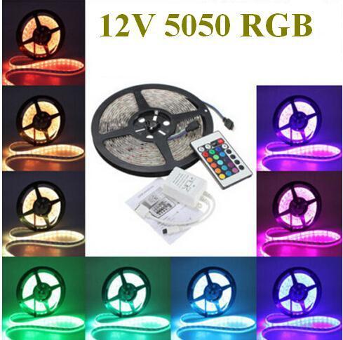(10pcs/lot) 12V 5 Meter(5M) 300leds RGB 5050 LED Strip light Flexible Changeable color LED tape Ribbon+24 key IR Remote Control(China (Mainland))