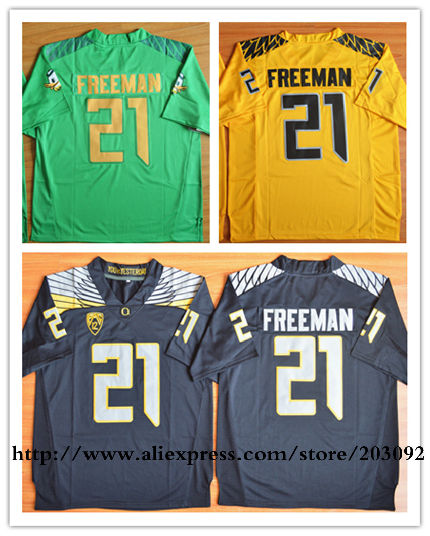 Best quality Oregon Ducks #21 Royce Freeman green yellow black Men's Limited College Football Jersey With Logos Stit(China (Mainland))