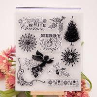 Angel Banner Design Silicone Transparent Clear Stamp DIY Scrapbooking Handwork Supplies School Kid Christmas Gift