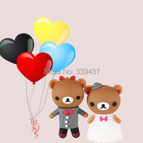 Real capacity pendrive Plastic USB thumb Wedding cartoon bear cartoon USB stick 4GB/8GB/16GB/32GB valentine gift flash drive(China (Mainland))