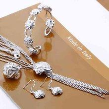 925 серебряных ювелирных изделий устанавливает слоя один цветок розы кисти ожерелья крюк серьги кольцо S299(China (Mainland))