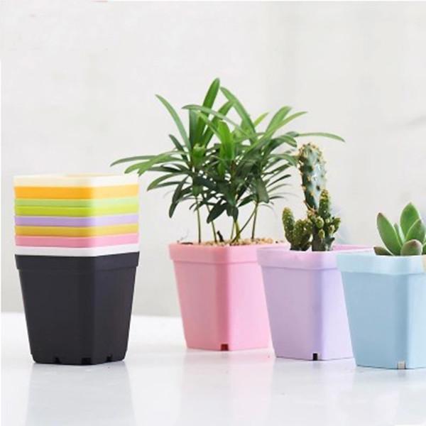 Hot Sale Plastic Flower Pot Square Pots For Colors For Home Decor Nursery Tra