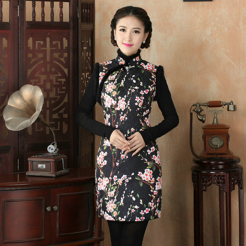 Black New Arrival Autumn Winter Chinese Traditional Womens Cotton Mini Printing Cheong-sam Dress M L XL XXLОдежда и ак�е��уары<br><br><br>Aliexpress