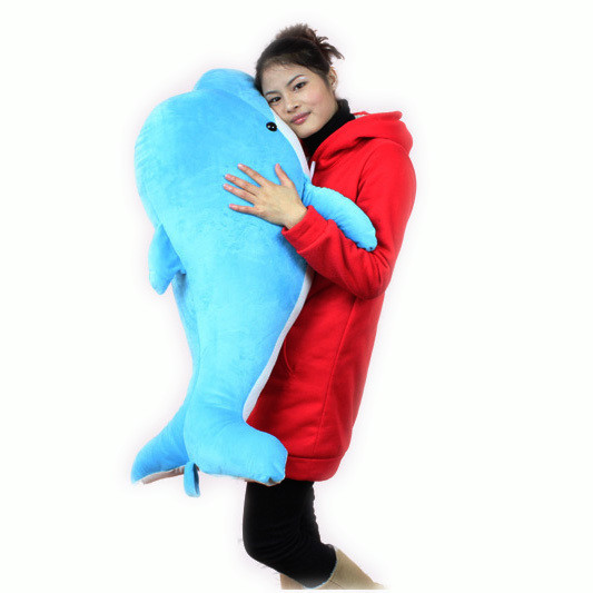 Plush dolphin huge 100cm doll 1 meter Large dolphin plush toy birthday gift blue or pink colour  t7526