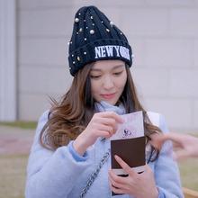 2016 New York Fashion Soft Beanie Pearl Knitting Hat Women Women's Hats Warm Headgear Casual Pom Girl Bonnet Accessories Gift