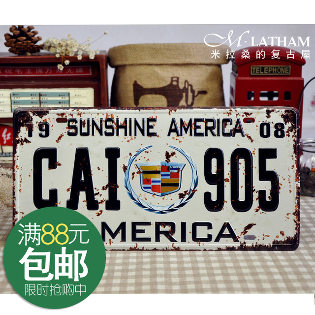 Metal painting home decorative antique tieyi painting car painting cadillac short emblem license plate
