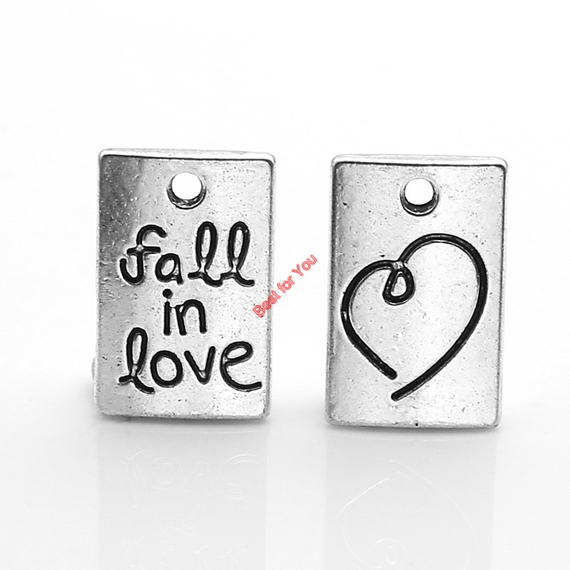 10pcs Tibetan Silver Plated Fall in Love Get Lucky Clover Charms Pendants for Necklace Bracelets Jewelry Making DIY 15x10mm(China (Mainland))