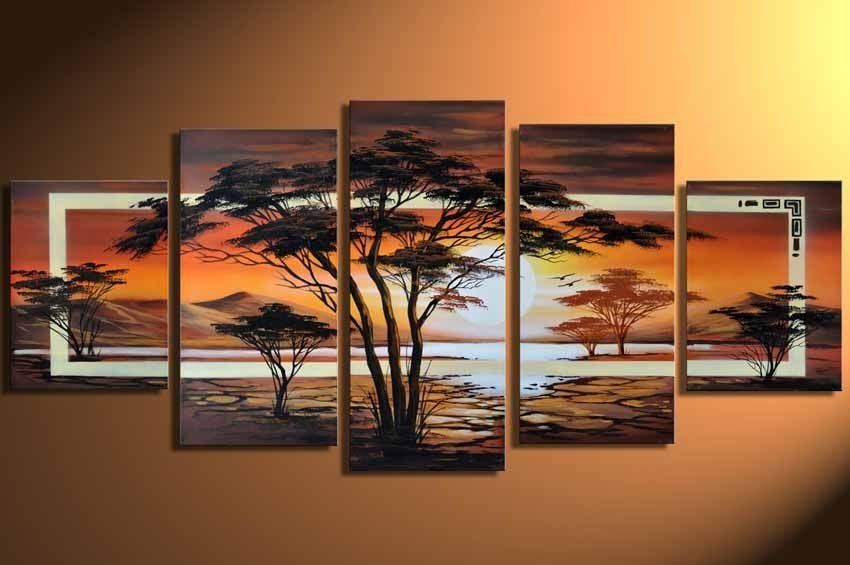 hand-painted Grassland African sunrise Home Decoration Modern Landscape Oil Painting on canvas 5pcs/set DY-014(China (Mainland))