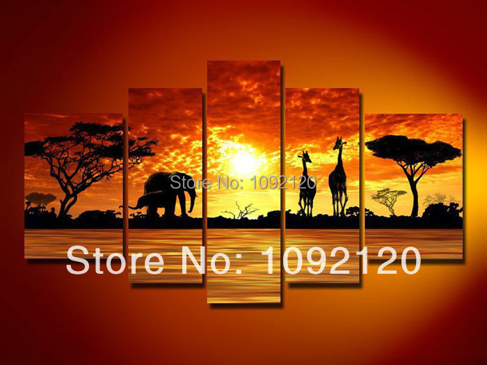 Handpainted 5 Piece Landscape Oil Paintings On Canvas Wall Art Beautiful African Scenery Sunset Pictures For Home Decoration