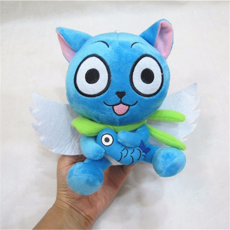 """[PCMOS] 2017 New Anime Fairy Tail Blue Happy Cat 18cm/7"""" Cute Plush Toy Stuffed Doll Arcade Prizes Gift Collection 3200(China (Mainland))"""