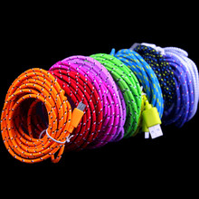Buy 10colors 3M 10FT Nylon/Fabric Braided Micro USB Extension Data Sync Cable Samsung Galaxy S4/ HTC,Free for $840.00 in AliExpress store