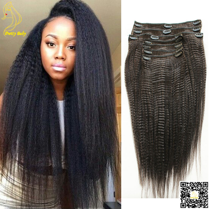 Yaki Human Hair Extensions Clip In Triple Weft Hair Extensions