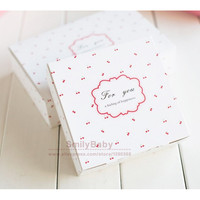 25pcs Cherry Print Paper box Candy cake box DIY party gift package 14*14*5cm