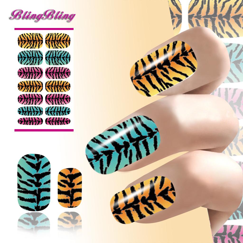 New Nails Art Water Transfer Sticker Zebra Striped Gradient Design Harajuku Nail Wraps Manicure Decor Decals Patch(China (Mainland))