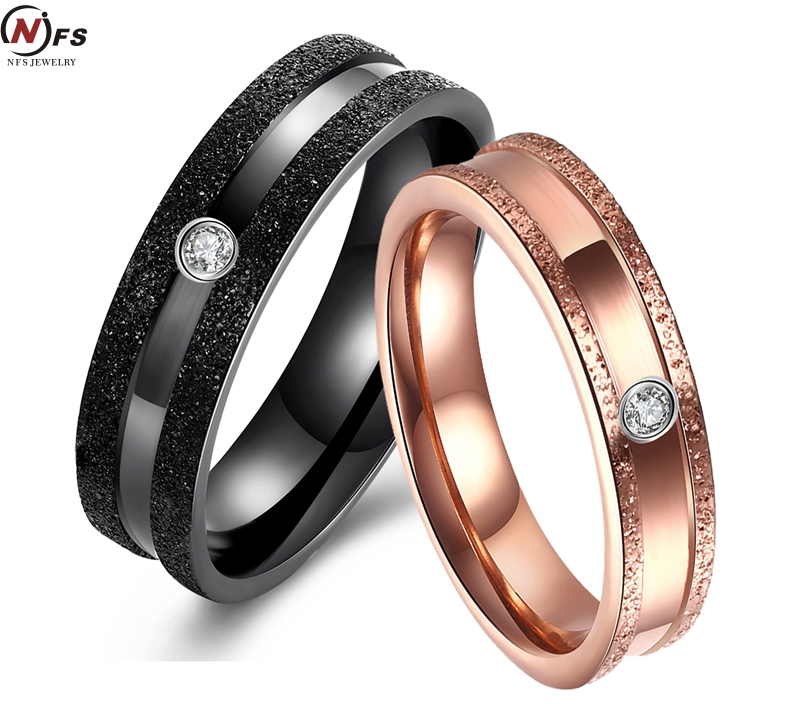 nfs 2 pieces 316l stainless steel jewelry couple ring set black gold his and hers promise rings engagement wedding band - His And Her Wedding Ring Set