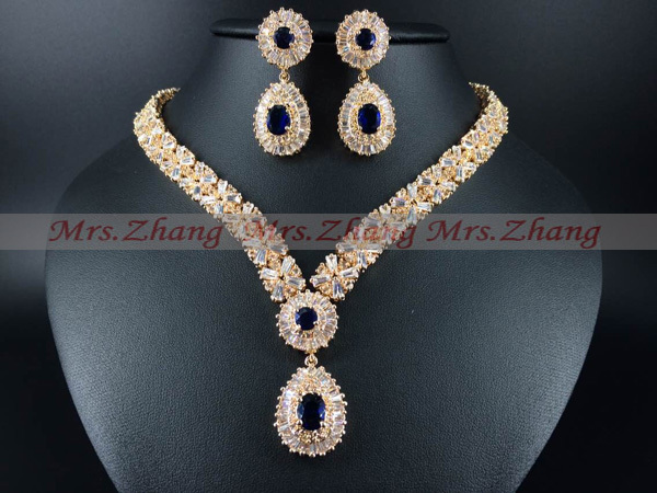 2015 new fashion,India Retro palace Blue zircon necklace set,golden,wedding,bride,dressing,party,dinner jewelry,free shipping!(China (Mainland))