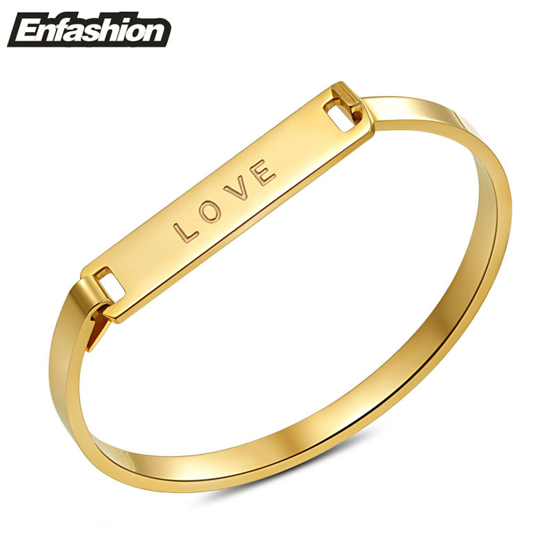 Enfashion LOVE cuff bracelet flat bangle 24k gold plated bangles bracelets for women stainless steel jewelry wholesale(China (Mainland))