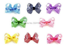 20 PCS 3.5″  Boutique Gingham Chunky Bow Clip headwear girl Mixed in 10 color