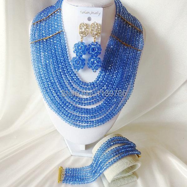 Fashion Nigerian African Wedding Beads Jewelry Set ,Crystal Necklace Bracelet Earrings Set A-2603<br><br>Aliexpress