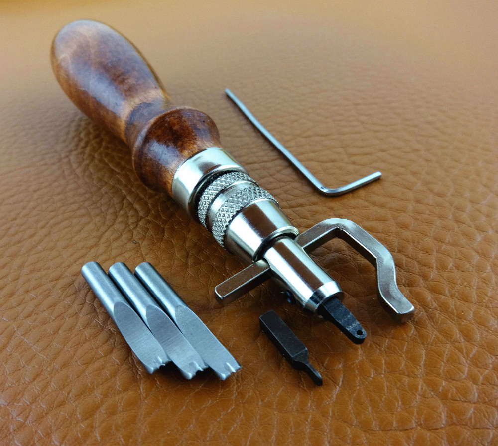 5 in 1 DIY Pro Leathercraft Adjustable Stitching Groover Crease Leather Tools