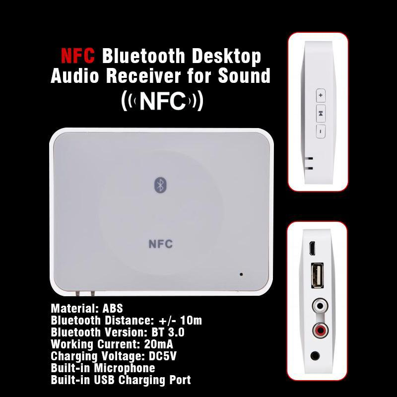 20pcs/lot Wireless NFC / Bluetooth V3.0 Music Receiver Hifi Stereo Audio System Music Speaker Adapter For iPhone iPad desktop(China (Mainland))