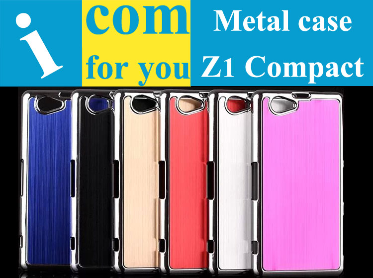 Luxury Brushed Aluminum cover case for Sony Xperia Z1 Compact Chromed Metal Cover Protector for Sony Xperia Z3 Plus Z3+