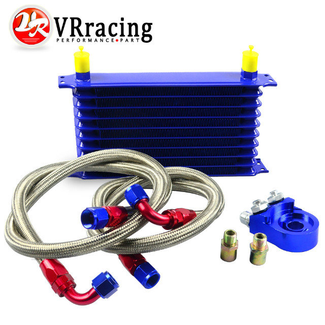 VR RACING STORE- UNIVERSAL 10ROWS OIL COOLER KIT + OIL FILTER SANDWICH ADAPTER+ STAINLESS STEEL BRAIDED OIL HOSE BLUE<br><br>Aliexpress