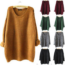 Women Oversized Knitted Sweater Batwing Sleeve Tops Cardigan Loose Outwear Coat(China (Mainland))