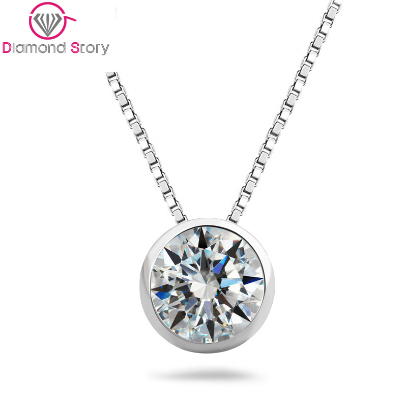 Teemi Top Quality 1 Carat Single Clear Cubic Zirconia S925 Sterling Silver Jewelry Bridal Engagement Silver Pendant Necklace(China (Mainland))