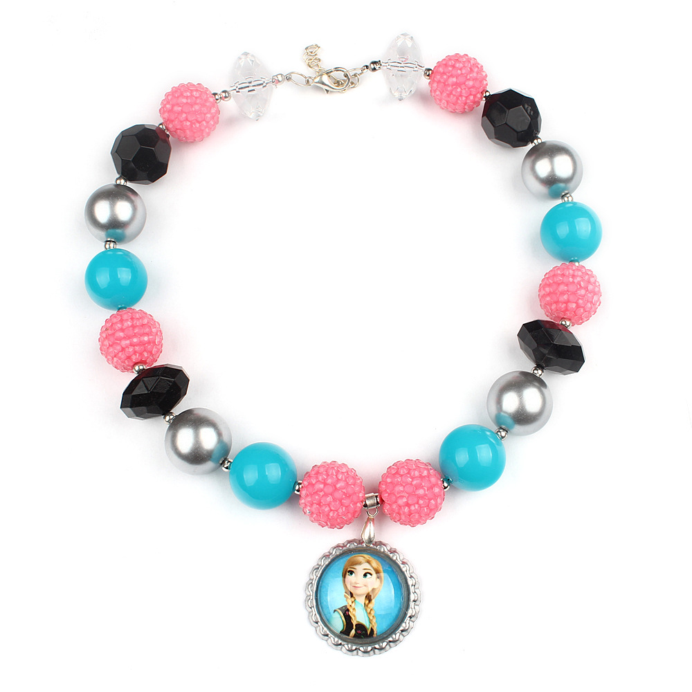 2016 Fashion Child Cartoon Sweet Color Chunky Beads Strand Chokers Necklace Girls Birthday Gift Toddler Apparel Jewelry WX1450(China (Mainland))