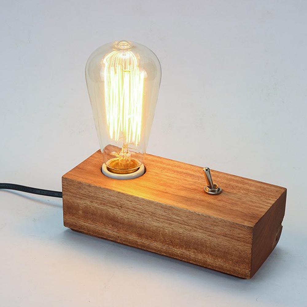 Fashion DIY Bedroom Modern Edison Wooden Table Lighting 110V 220V Desk Lamp Designer Lights With Rectangle Wooden Table Lamp<br><br>Aliexpress