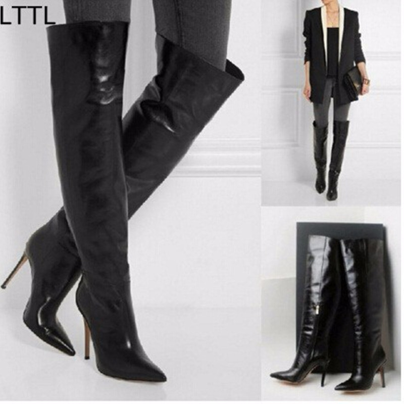 get cheap black leather thigh high boots