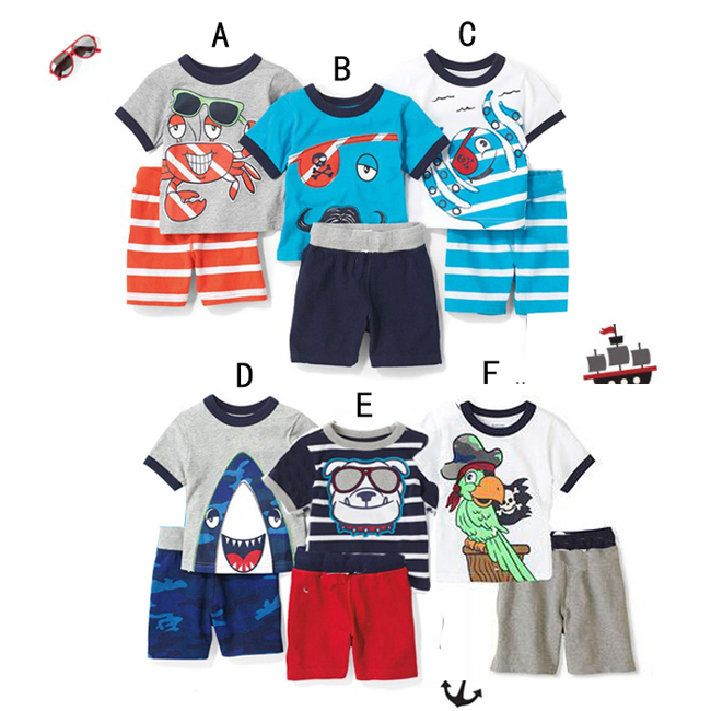 2015 summer boys sets kids cartoon Crab Octopus Shark Parrot dog casual t-shirts + pants sports children suits(China (Mainland))