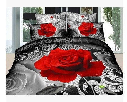 Buy 3d black and red rose cotton bedding - Black and red bedding sets ...