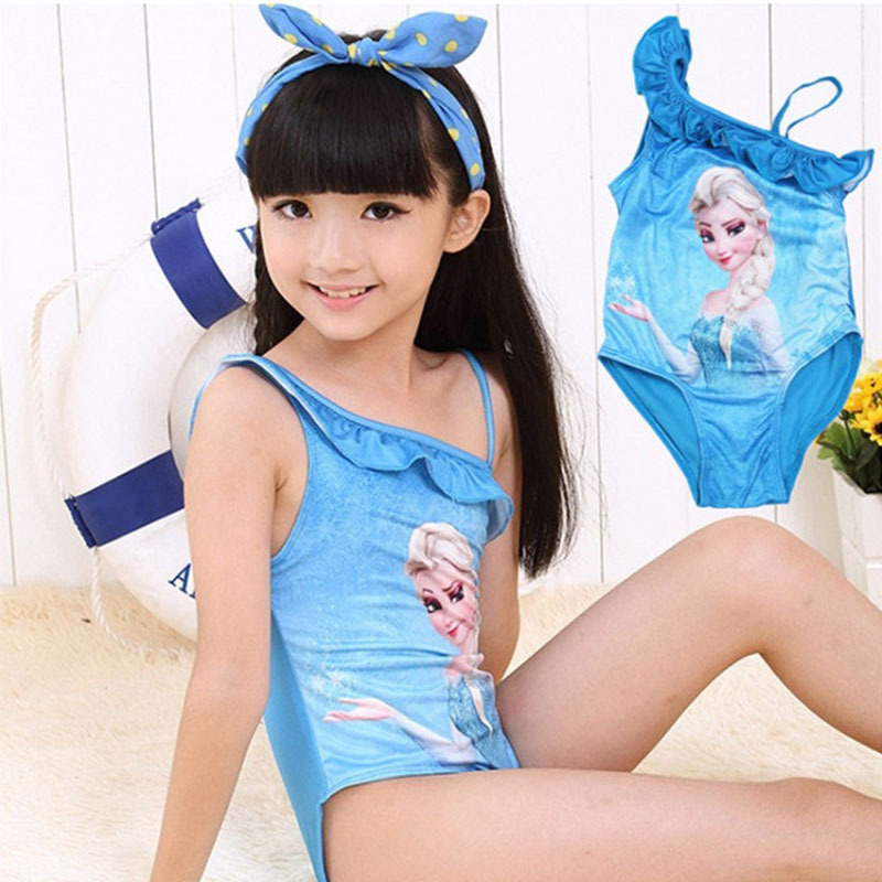 Baby Girls Swimwear Toddler Swimsuit Character Queen Elsa Anna biquini infantil Children Kids One piece Girls Bathing Suit CL005(China (Mainland))