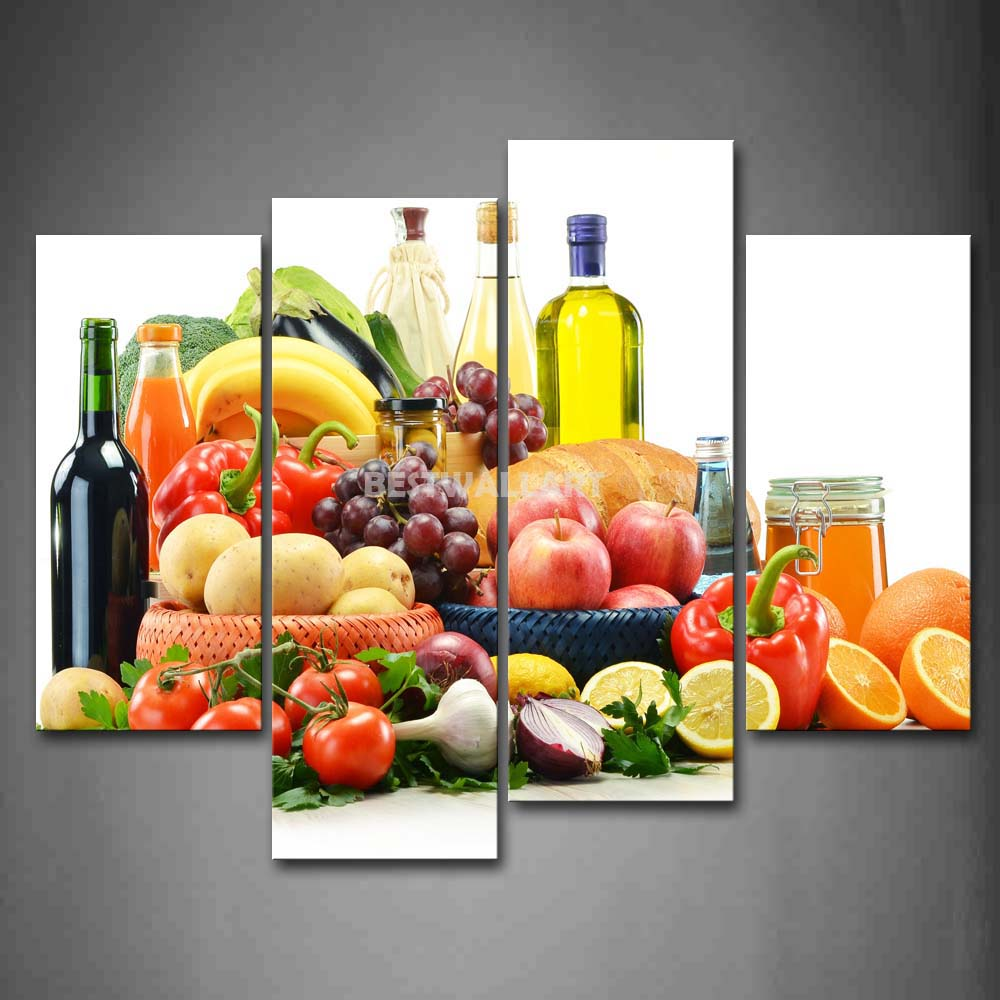 Purple Vegetable Wall Art: Colorful Various Fruit And Vegetable With Wine 4 Piece