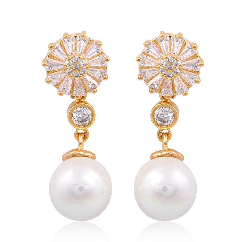 2 Colors New Fashion Women Luxury Brand Gold Plated Earrings Pearl Personality Flower Stud Earrings For Women Girls Gifts Hot(China (Mainland))