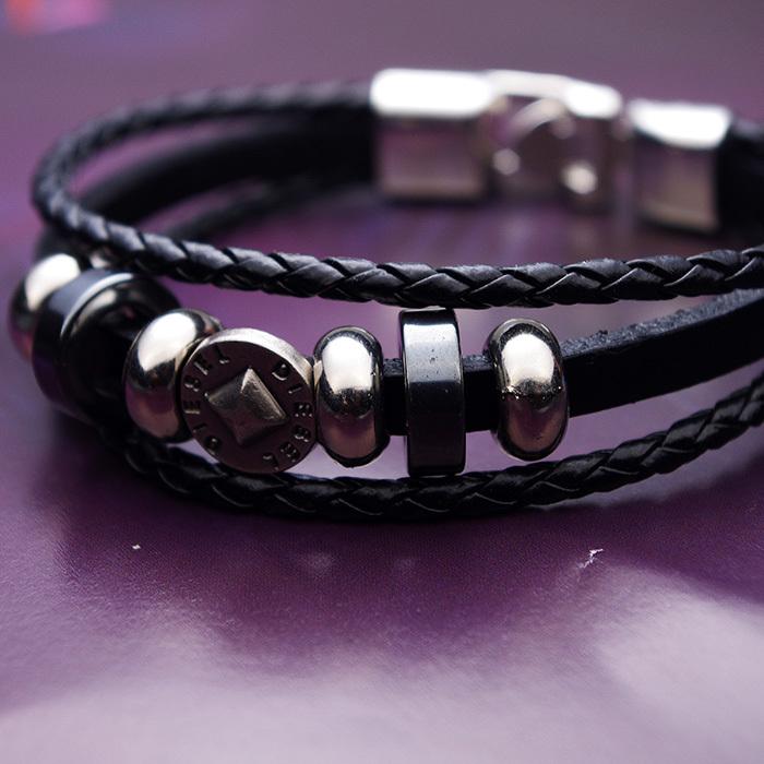 2015 New Arrival Vintage Black Leather String Bracelet Men Women Wholesale pulseras KAVATAR HA0002a