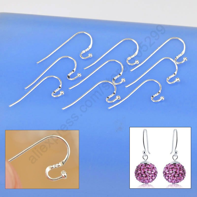 2015 New Arrival Earring Findings Genuine 925 Sterling Silver Jewellery Ear Wire S Ball Hooks DIY Handmade Collections(China (Mainland))