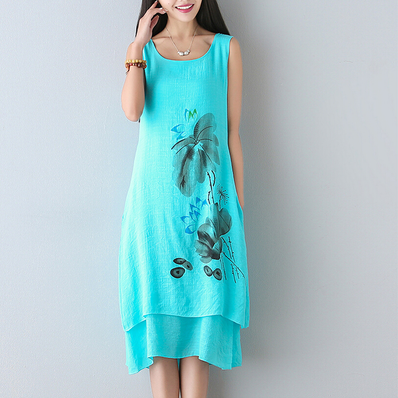 Plus Size Women White Dress Clothing Vintage Cotton Chinese National Wind Hand Painted A-line Sleeveless Simple Cotton Dresses(China (Mainland))
