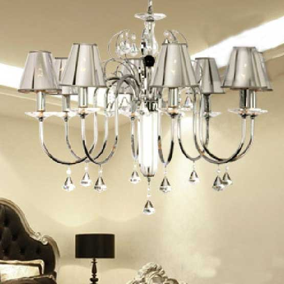 8 Heads Pendant Light Modern Luxury K9 Crystal Pendant Lamp Dinning Room Bedroom Brushed Nickel Lighting Fixture Dia81cm H65cm(China (Mainland))