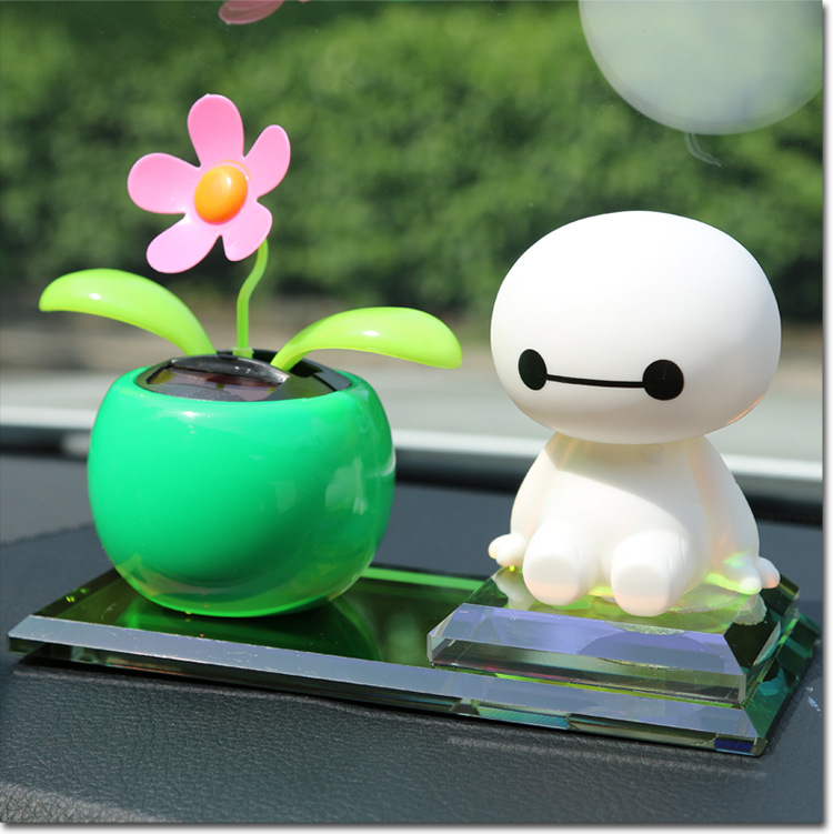 2016 New Arrival Car Interior Decorations,Sunflower solar car interior ornaments perfume seat , cute Baymax car perfume seat(China (Mainland))