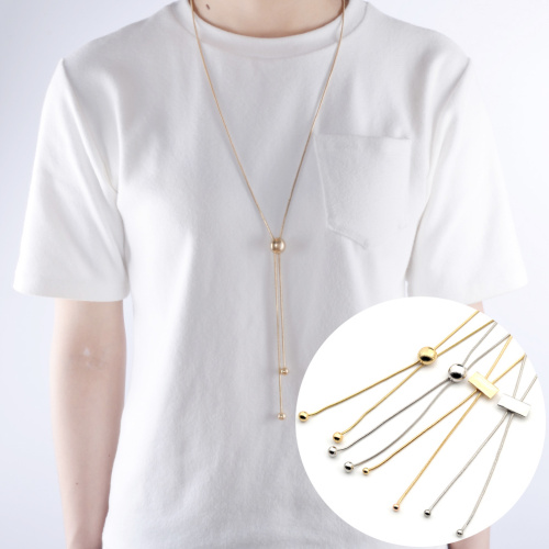 Fashion Bolo Tie Style Gold/Sliver Necklace Metal Chain With Slide Statement Sweater Pendant Necklaces Collares Choker Gift(China (Mainland))